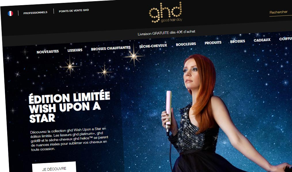 La boutique officielle du lisseur GHD.